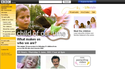 BBC Child of our time Homepage