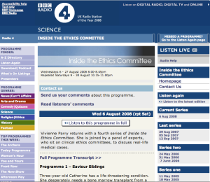 Visit the Inside the Ethics Committee homepage at BBC Radio 4