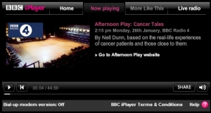Listen again to Cancer Tales via the BBC iPlayer (available until Monday 2nd February 2009)